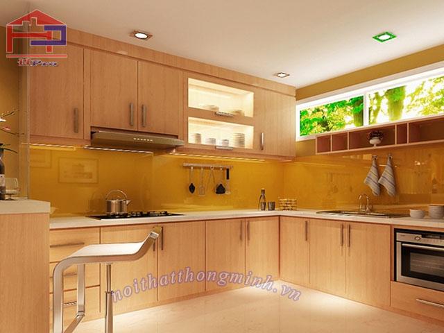 Tủ bếp gỗ veneer sồi Mỹ