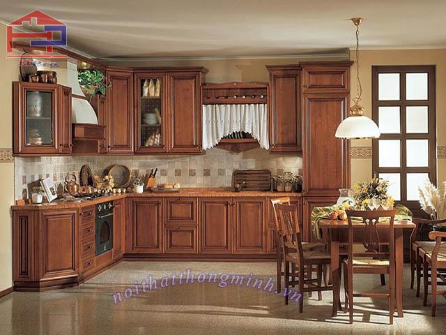 Kệ bếp gỗ sồi