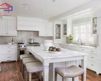 Kệ bếp gỗ sồi sơn trắng