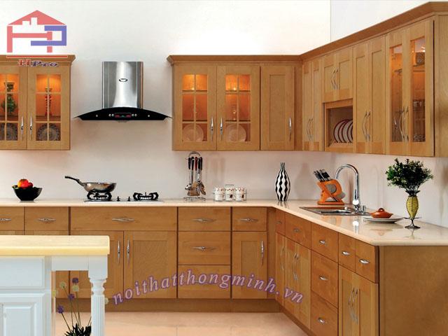 Mẫu tủ bếp gỗ sồi đẹp chữ L