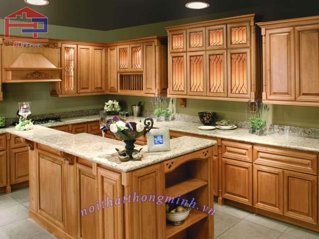 Tủ bếp bằng gỗ sồi Mỹ