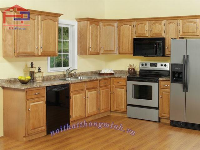Mẫu tủ bếp gỗ sồi cao cấp