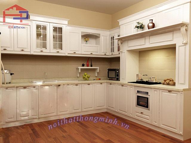 Tủ bếp gỗ sồi sơn PU