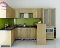 Tủ bếp bằng gỗ sồi