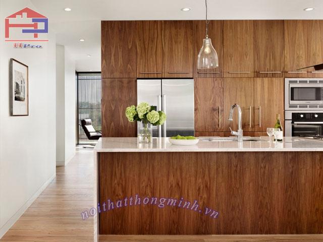 Tủ bếp gỗ veneer sồi