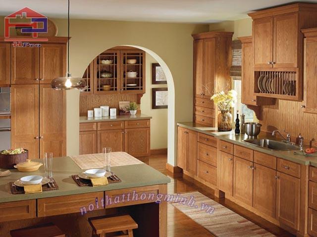 Tủ kệ bếp gỗ sồi