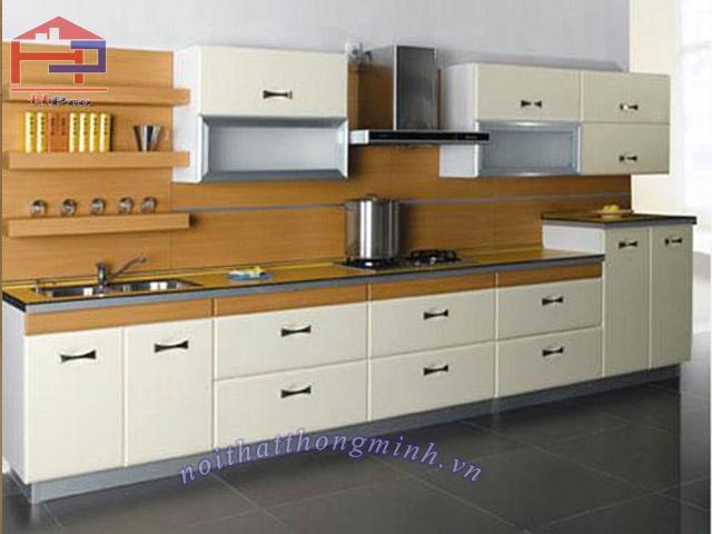 Tủ kệ bếp gỗ sồi PU chữ I