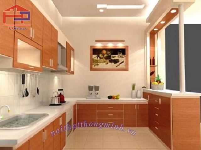 Tủ kệ bếp gỗ sồi PU hình chữ U
