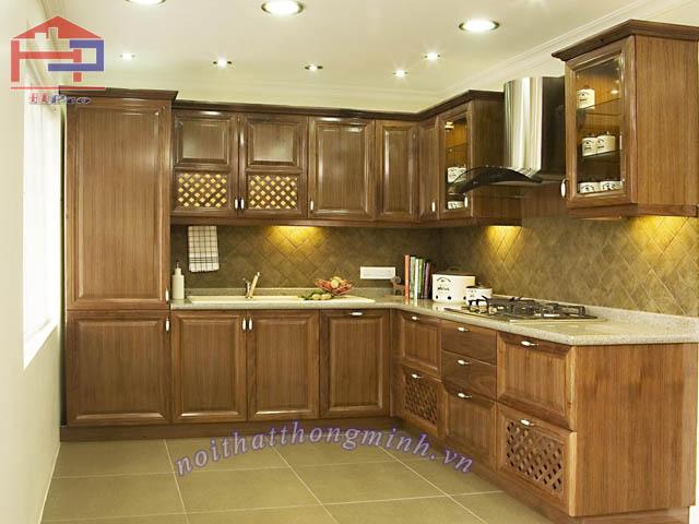 Tủ bếp gỗ sồi Mỹ mẫu chữ L
