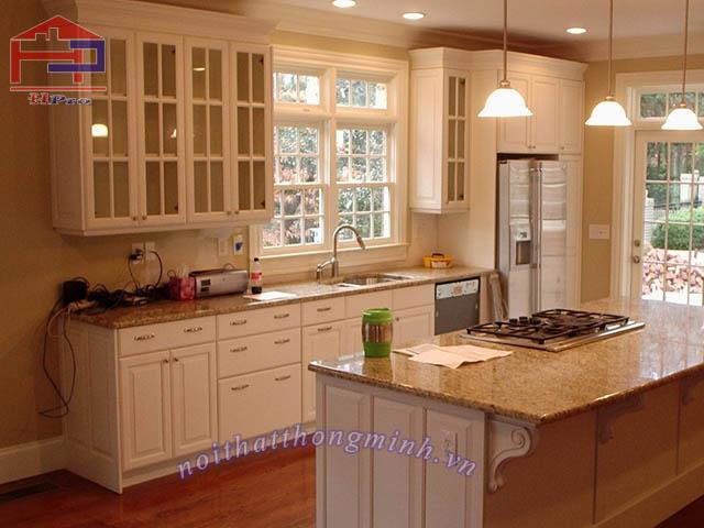 Tủ bếp gỗ sồi Mỹ mẫu chữ I