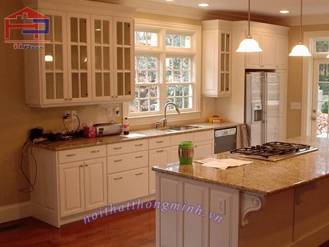 Tủ bếp gỗ sồi mỹ mẫu chữ U