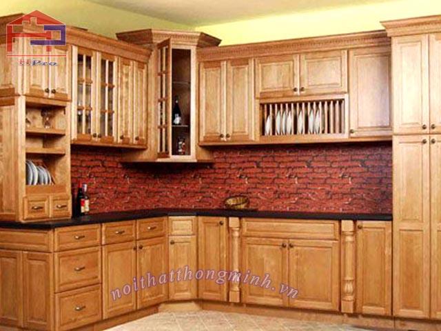 Tủ bếp gỗ sồi Mỹ PU