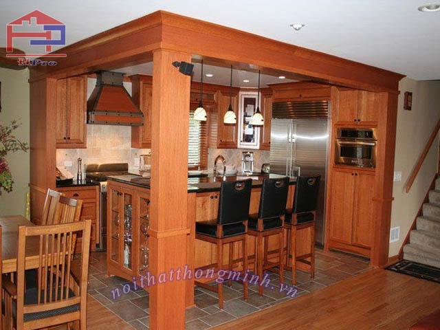 Tủ bếp gỗ sồi Mỹ rẻ