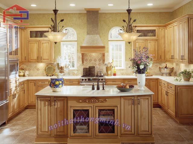 Tủ bếp gỗ sồi Mỹ sơn PU