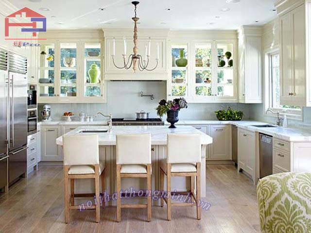 Tủ bếp gỗ sồi Mỹ sơn trắng