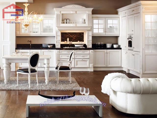 Tủ bếp gỗ sồi Mỹ trắng