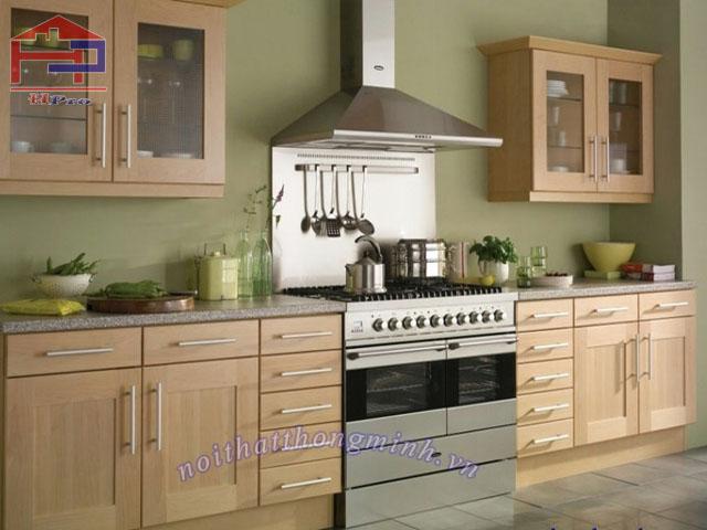 Tủ bếp gỗ sồi Mỹ veneer
