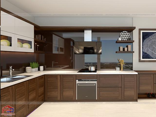 Tủ bếp được làm từ gỗ óc chó cao cấp