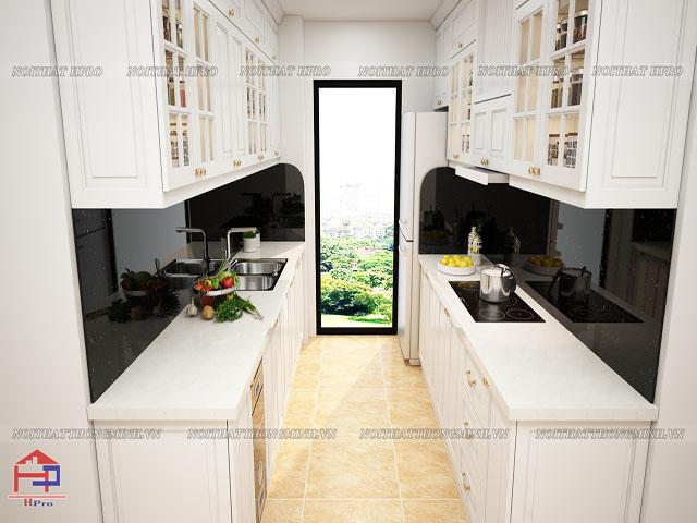 Tủ bếp gỗ công nghiệp sơn trắng theo phong cách tân cổ điển