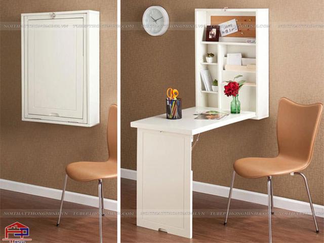 Bàn ăn cho nhà bếp nhỏ được thiết kế gắn vào tường để gia đình có thể tiết kiệm được tối đa không gian