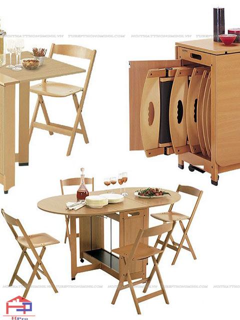 Bàn ăn cho nhà bếp nhỏ có thiết kế thông minh, có thể gấp gọn lại được nhàm tiết kiệm được tối đa không gian bếp cho gia đình