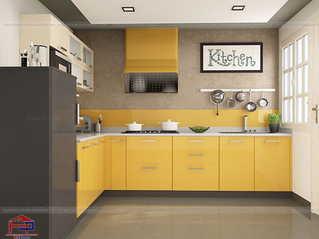 Hình ảnh không gian bếp đẹp với màu vàng chanh chủ đạo cực kì ấn tượng