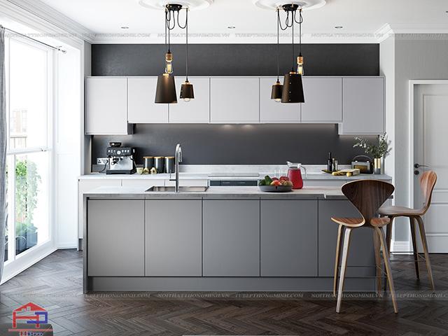 Màu sắc trung tính là điểm nhấn sang trọng và đẳng cấp cho không gian nhà bếp đẹp có diện tích chỉ khoảng 10m2 này