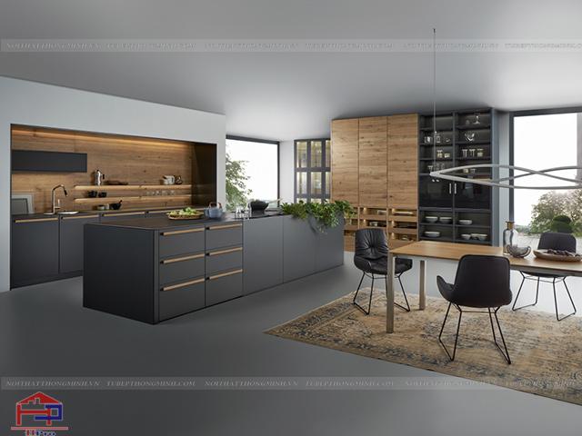 Màu trung tính giúp không gian nhà bếp đẹp trở nên sang trọng và đẳng cấp hơn hẳn