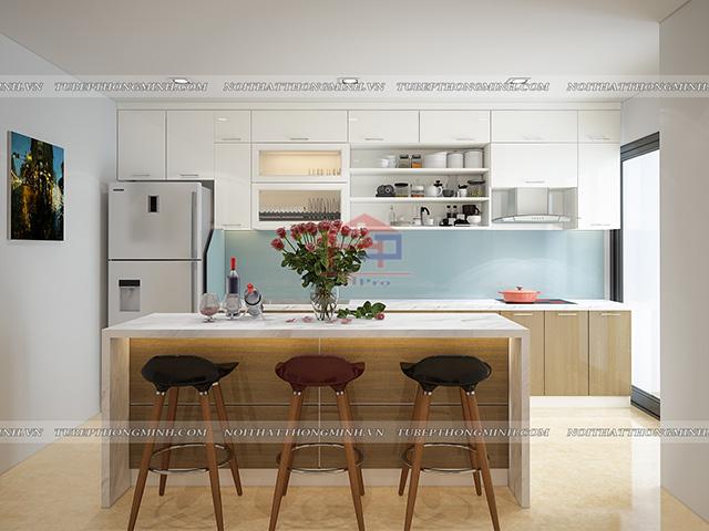 Hình ảnh không gian bếp đẹp được bố trí thêm bàn đảo bếp có tác dụng như một chiếc bàn ăn tiện nghi cho gia đình có thể thưởng thức bữa ăn trong không gian đẹp mắt nhất