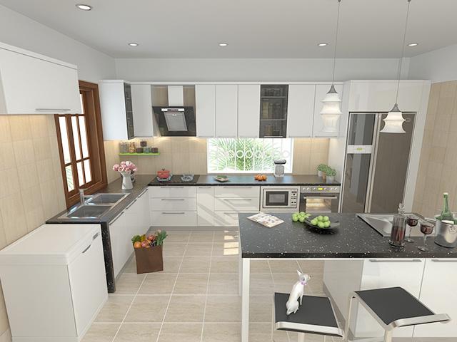 Không gian nhà bếp đẹp với màu trắng chủ đạo mang đến sự thoáng đãng cho không gian, thiết kế công năng tối đa cho gia đình thuận tiện nhất khi nấu nướng