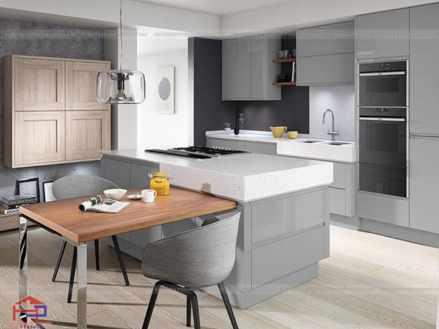 Màu xám chủ đạo trong mẫu thiết kế không gian phòng bếp đẹp này tạo nên sự lịch lãm, sang trọng cho cả không gian