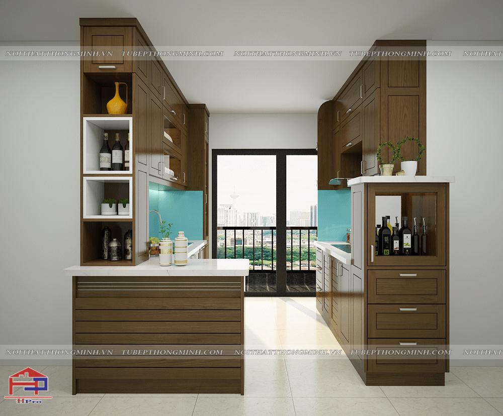Mẫu nhà bếp đẹp được thiết kế song song tận dụng tối đa diện tích căn bếp nhỏ nhưng vẫn tạo nên sự thuận tiện cho người nội trợ khi nấu nướng