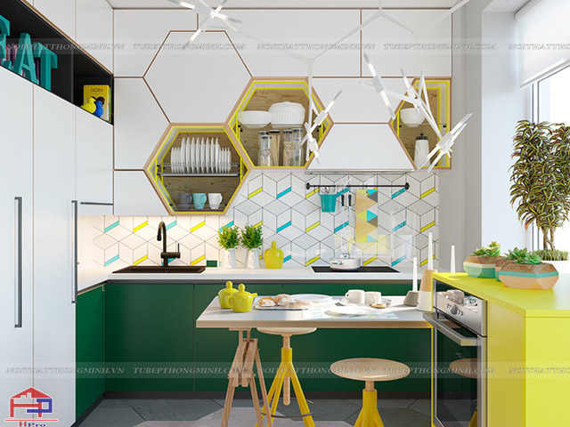 Mẫu nhà bếp đẹp đầy màu sắc được thiết kế vô cùng ấn tượng và cá tính
