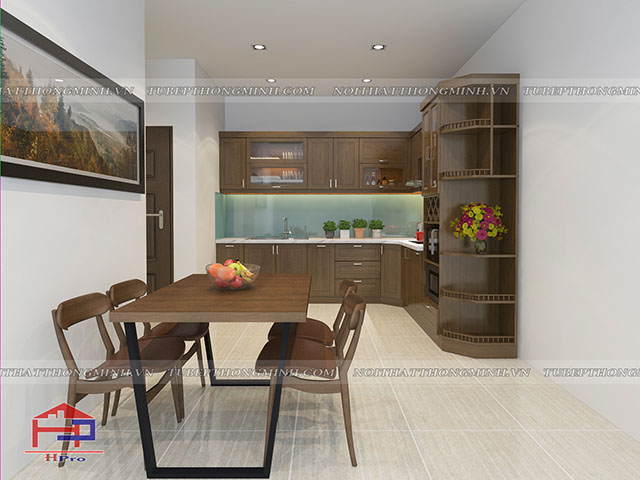 Mẫu bàn ăn phòng bếp đẹp được thiết kế với chân bằng thép hình chữ U chắc chắn, mặt bàn gỗ công nghiệp laminate màu vân gỗ với khả năng chống trầy xước tốt, phù hợp làm mặt bàn ăn phòng bếp