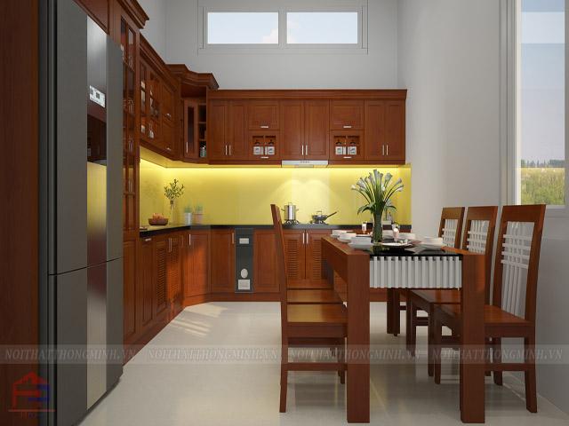 Bàn ăn phòng bếp đẹp bằng gỗ xoan đào tự nhiên kết hợp màu sơn trắng. Chất liệu gỗ xoan đào tự nhiên mang lại cảm giác chắc chắn, bền đẹp dài lâu