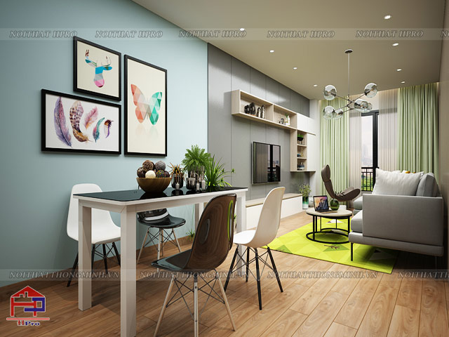 Mẫu bàn ăn phòng bếp đẹp với thiết kế đơn giản được trang trí thêm ghế decor hiện đại, tạo nên nét ấn tượng riêng cho không gian
