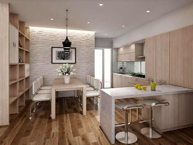 Mẫu tủ bếp cho phòng bếp nhỏ được thiết kế dạng chữ I kết hợp bàn đảo bếp cực kì tiện lợi vừa là nơi sơ chế thực phẩm vừa có thể tận dụng như bàn ăn nhỏ xinh