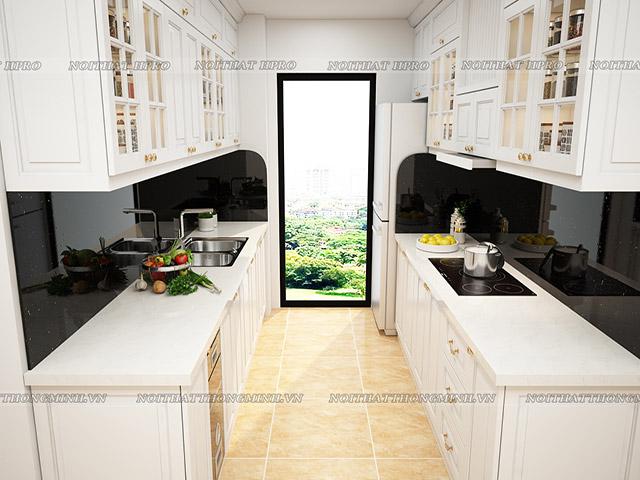 Mẫu tủ bếp đẹp cho phòng bếp nhỏ nhưng có lợi thế về chiều ngang được tận dụng cho thiết kế tủ bếp chữ I song song mà người nội trợ vẫn có khoảng di chuyển linh hoạt