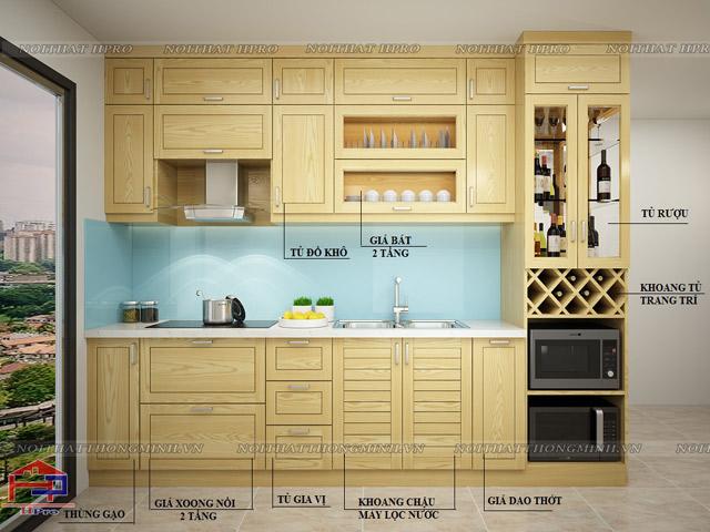 Mẫu tủ bếp đẹp cho phòng bếp nhỏ bằng chất liệu gỗ sồi nga tự nhiên màu vàng sáng trẻ trung, hiện đại