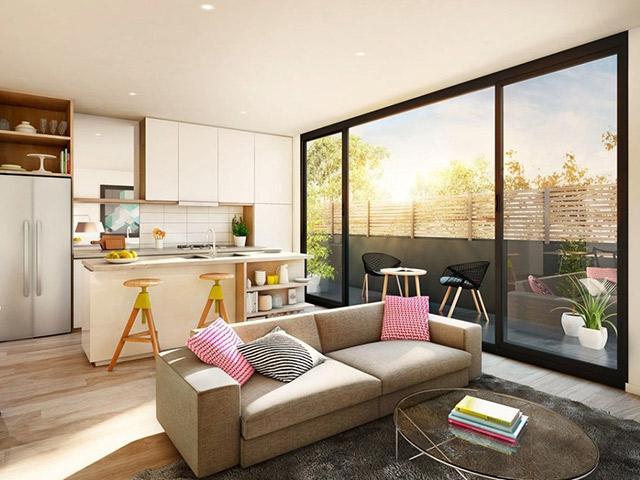 Mẫu tủ bếp chi phòng bếp nhỏ được tích hợp thêm bàn đảo bếp tiện nghi với chức năng như một chiếc bàn ăn tiện lợi để gia đình có thể thưởng thức mỗi bữa ăn