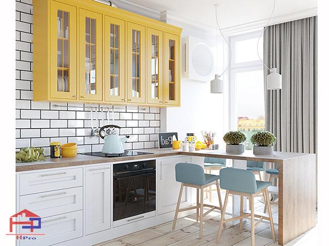 Tủ bếp đẹp cho phòng bếp nhỏ được thiết kế kết hợp bàn đảo bếp đơn giản, nhỏ gọn không có các hộc tủ bên dưới