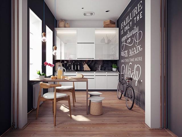 Nhà chung cư có diện tích bếp nhỏ hẹp khoảng 10m2 được bố trí cự kì ngăn nắp và tiện ích