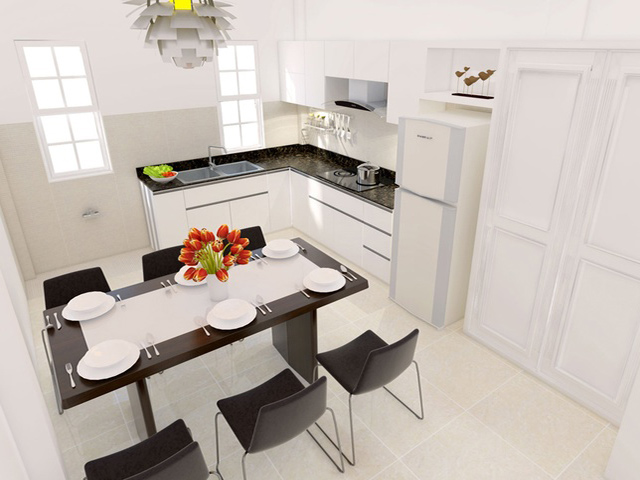 Chất liệu gỗ công nghiệp acrylci bóng gương màu trắng tinh tế được sử dụng cho tủ bếp kiểu dáng chữ L kết hợp với bộ bàn ăn hình chữ nhật để tạo nên một nhà bếp hình vuông đẹp tiện nghi
