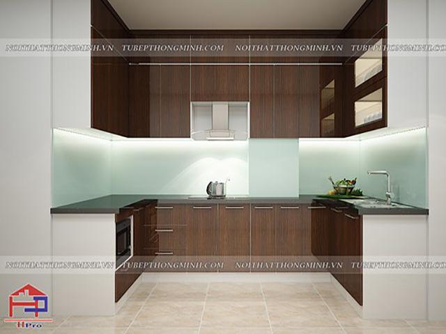 Sự sang trọng từ bộ tủ bếp acrylic bóng gương an cường màu vân gỗ