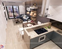 Mẫu tủ bếp cho phòng bếp đẹp hiện đại nhà ống