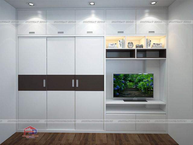 Thiết kế đơn giản kết hợp kệ tivi mang lại không gian hiên đại, thể hiện đúng tinh thần của dòng acrylic công nghiệp